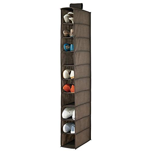 mDesign Portascarpe da Appendere – Perfetta scarpiera e Organizer Armadio con 10 Scomparti – Funzionale scaffale per Scarpe, Vestiti e Accessori – Marrone Scuro
