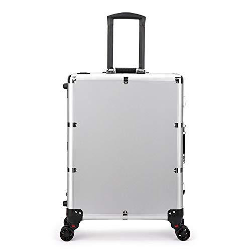 TXqueen Cas de Train de Maquillage LED, éclairé Roulant Voyage Organisateur cosmétique Portable boîte avec Miroir,Silver