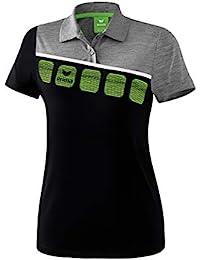 Erima GmbH 1111914 Polo de Tenis, Mujer, Negro/Gris Jaspeado/Blanco,