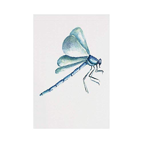 gthytjhv Dragonfly Hand Drawn Watercolor Dragonfly Figure with Grunge Murky Influences Picture Decorative Light Blue White House Garden Family Event Decoration -