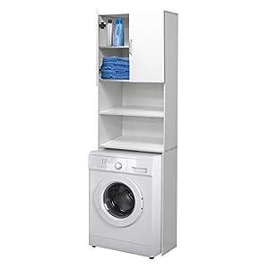 ECD Germany Mueble de lavadora – Blanco – 62,5 x 25 x 190 cm – Mueble de baño para lavadora secadora Aseo WC – Estante para lavadora – Compartimientos sobre Lavadora – Elegante – Fácil de montar