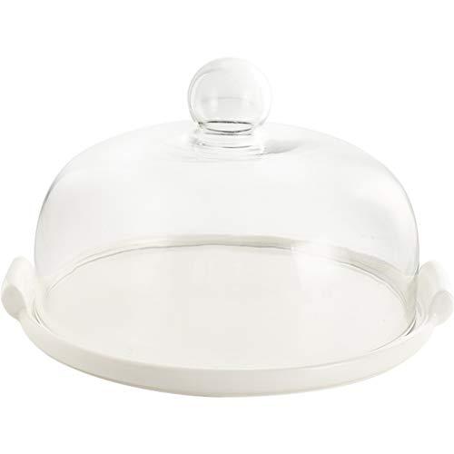 C-J-Xin Couverture de gâteau de preuve de poussière, supports de gâteau gâteau de dôme de mariage de dôme de gâteau de couverture de verre transparent 26 * 26 * 11.5CM plat de fruits