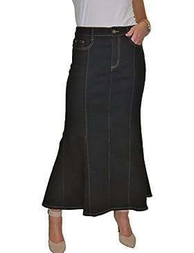 ICE Maxi largo Falda de los vaqueros del estiramiento, lavado liso, 40-50