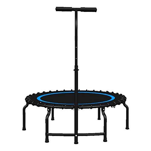 Indoortrampoline Faltbare Mini-Trampoline mit verstellbarem Griff, Kids Fitness Bounce-Trampolin-Rebounder mit elastischen Kordeln, Max Load 500 kg (Farbe : Blau)