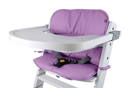 Tinydo® Universal Hochstuhl-Sitzkissen optimal für Timba Safety 1st. und alle gängigen Treppenhochstühle - 2teilg. Set mit Memory-Schaum Sitzverkleinerer-Auflage für Babystühle rutschfest (Violett)