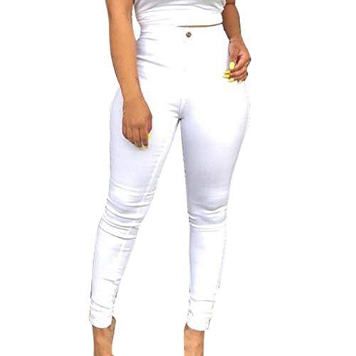 NPRADLA Frauen Stretch Jeans Hohe Taille Hosen Stretch Schlank Reine Farbe Gym Button Zipper Panties Frau Lange Bleistifthosen Aeropostale Bootcut Jeans