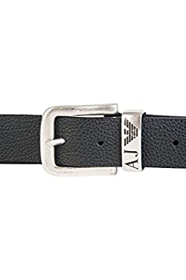 Armani Jeans Black Textured Leather Scratch-Resistant Belt