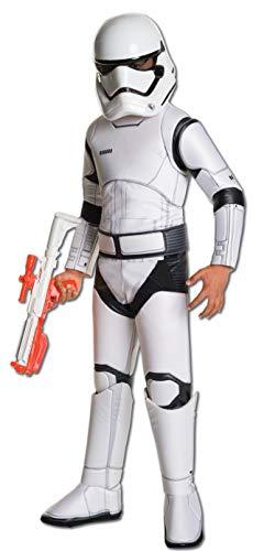 Star Wars 7 Kostüm Kinder Stormtrooper Deluxe 3-TLG Overall Gürtel Maske weiß - - Kinder Storm Trooper Kostüm