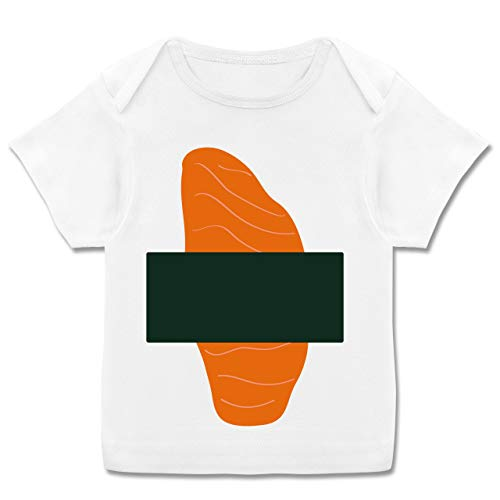 Karneval und Fasching Baby - Sushi Kostüm - 68-74 (9 Monate) - Weiß - E110B - Kurzarm Baby-Shirt für Jungen und Mädchen (Sushi Kostüm Mädchen)