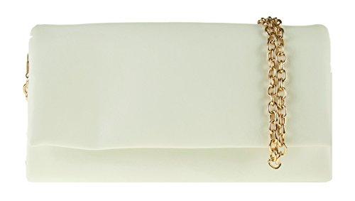Girly HandBags Mode Nouveau Simili Cuir Pochette À Rabat Désign Divisé Chaîne D'Épaule Fermeture Éclair Plié Blanc