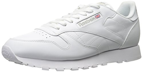 Reebok Men's Classic Leather Sneaker, White/White/Light Grey, 8 M US