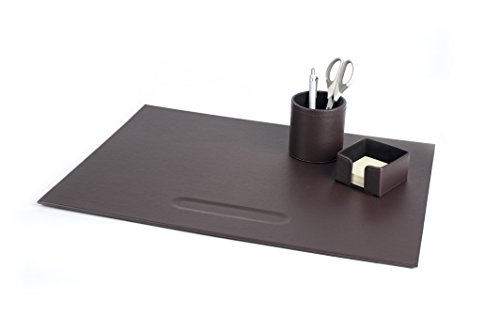 Pavo 8003013 Premium Schickes Büroset PU Leder inklusive Schreibunterlagen, Zettelbox und Stifteköcher, braun