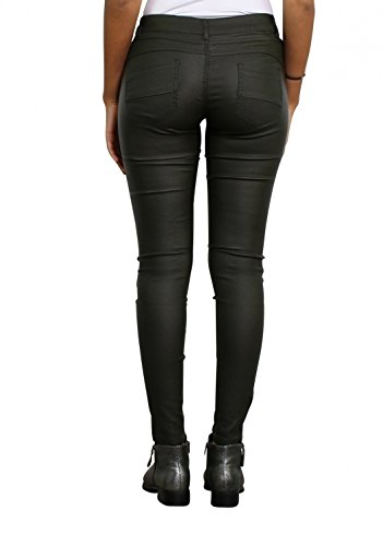 Damen Kunstlederhose Röhrenjeans Leder-Optik Hüfthose Damenjeans Hüftjeans Skinny ( Röhre Nr: 408 ), Grösse:40, Farbe:Khaki (Stretch-yoga-hosen Petite)