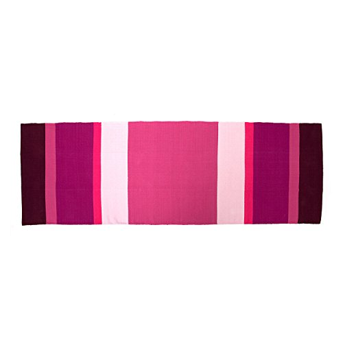 YOGA RUG Yoga-Teppich aus Baumwolle, (198 x 68 cm) Mysore Yoga-Rug, Auflage aus Naturmaterial für Ashtanga oder Hot Yoga Matte, Natur-Material (aubergine-lila-pink) - Schwarz Akzent Teppich