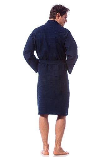 Morgenstern, Herren Waffelpique - Bademantel, blau ( dunkelblau ), 110 cm lang, 100% Baumwolle, Größen M, L, XL und XXL verfügbar Marine