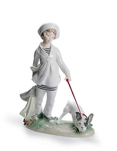 Figura de porcelana de Lladró Niña con Bulldog Francés