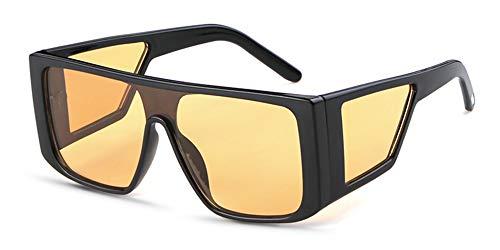 HUWAIYUNDONG Sonnenbrillen,Windproof Sunglasses Women Men Reflective Oversized Mirror Vintage Sun Glasses Big Eyewear Outdoor Sports Punk Goggles Yellow