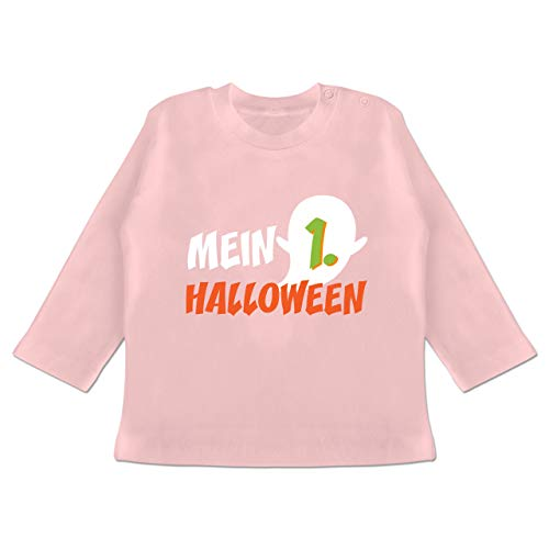 Anlässe Baby - Mein erstes Halloween Geist - 6-12 Monate - Babyrosa - BZ11 - Baby T-Shirt Langarm