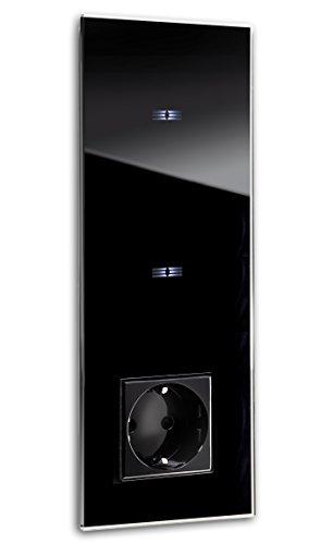 ROHDE+ROHDE schwarze Touch-Schalter-Steckdosen Kombination, LED Anzeige.Qualität aus Deutschland. 5 J. Garantie** Sensor Panel aus Mammut-Glas. 2-fach. Standardinstallation 230V. TRITON 10.02.03.027 (Ge-licht-schalter)