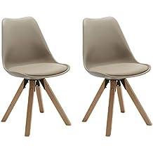 duhome elegant lifestyle chaise salle manger lot de 2 kaki en plastique avec coussin en - Chaise Scandinave Beige