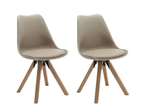 Duhome Elegant Lifestyle Stuhl Esszimmerstühle Küchenstühle !2 er Set! in Cappuccino Küchenstuhl Holzbeine Sitzkissen TYP9-518M Esszimmerstuhl Retro Küchenstuhl Farbauswahl