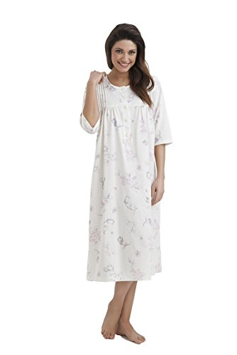 Camicia da notte lunga da donna con scollo a V vestibilit/à comoda in vari colori Indigo Sky in jersey