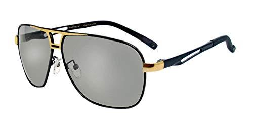 rainbow safety Herren Selbsttönende Sonnenbrille Auto Brille Nachtsichtbrille Photochromatische Polarisierte Gläser RWNP5 (BLKGold Cat.2-3)