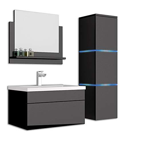 Home Deluxe - Badmöbel-Set - Wangerooge schwarz - L - inkl. Waschbecken und komplettem Zu