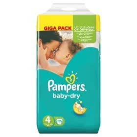 pampers baby dry lot de 120 couches taille 4. Black Bedroom Furniture Sets. Home Design Ideas
