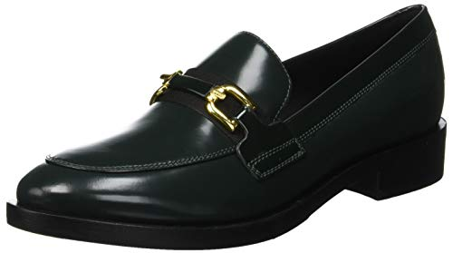 Geox Donna Brogue A, Mocasines Mujer, Dk Forest/Black