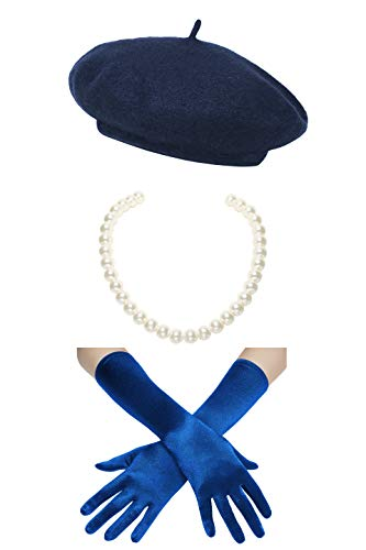 Coucoland Damen Fasching Kostüm Accessoires Set Französischer Stil A Night In Paris Party Inklusive Damen Französisch Barett Velvet Samt Handschuhe Kurze Perlen Halskette - Französisches Barett Kostüm