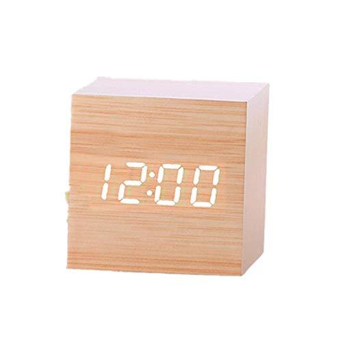 PINKE Hölzerne Elektronische LED-Anzeige des Retro- Digitalen Weckers Kleiner Quadratischer Körper 6CM, Der Kleinen Mini Elektronischen Uhr des Raumes Besetzt(Tan)