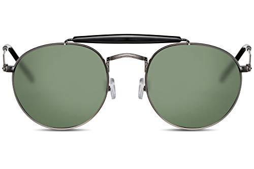 Cheapass Sonnenbrille Rund Rahmenlos Klein-e Piloten-Brille UV-400 Designer-Nasenbrücke UV-400 Metall Damen Herren