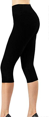4How Sport Leggings Damen 3/4 Capri Leggins Sporthose Laufhose Blickdicht Yoga Pants Tights Strumpfhosen Damen Winter Schwarz L -