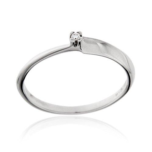Gioiello italiano - anello solitario in oro bianco 18kt con diamante 0.015ct