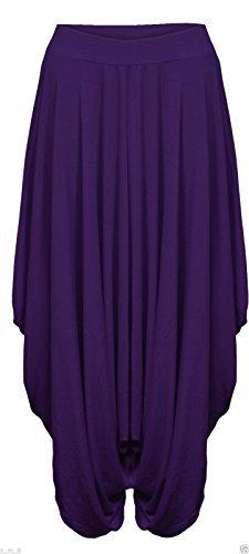 femmes-fronce-drape-sarouel-pantalon-bouffant-baggy-lagenlook-alibaba-violet-fonce-44-50