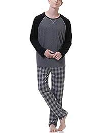 Hawiton Pijamas Hombre Invierno de Manga Larga Pijama Algodón Ropa de Domir 2 Piezas Pantalones Largo