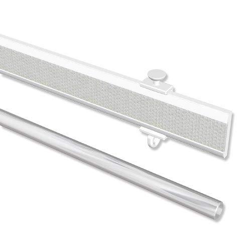 INTERDECO Paneelwagen Weiß aus Aluminium mit Klettband kürzbar für Gardinenschienen, Universal Easyslide, 80 cm -