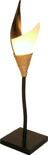 Guru-Shop Palmenblatt Stehlampe/Stehleuchte Samira- in Bali Handgemacht aus Naturmaterial, Palmholz, Größe: Mittel, 100x20x20 cm, Dekolampe Stimmungsleuchte