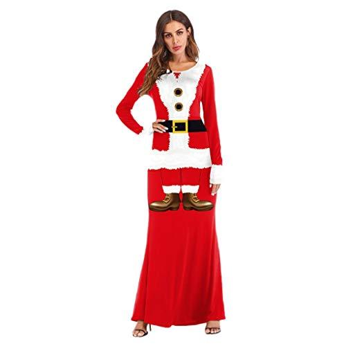 Soupliebe Frauen Weihnachten Weihnachtsmann Kostüm Cosplay 3D Printed Ball Party Langes Kleid Abendkleider Cocktailkleid Partykleider Blusenkleid