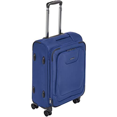 AmazonBasics, Premium, valigia espandibile, morbida, con rotelle multidirezionali e chiusura TSA, 53 cm, Blu
