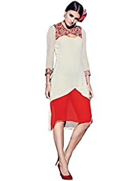 Lords White, Red Geprgette Semi Stitched Embroidery With Embroidery Kurti