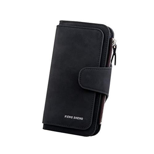 Solid Matte (COZOCO Frauen Mode Solid Color Matte DREI Falten Multi-Card Brieftasche Lange Abschnitt synthetischeleder Nitsen-Handtasche(schwarz))