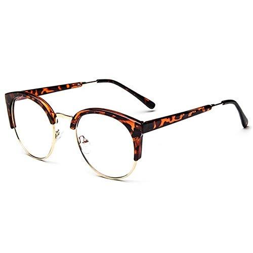 FANGUGF Flache Gläser Mode Runden Halben Rahmen Eyewear Metall Umrandeten Männer Retro Großen Rahmen Spiegel Frauen Marke Brille Optische Rahmen Gläser