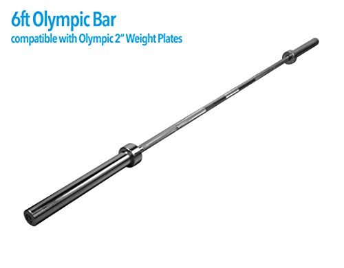 """JLL® 2"""" Olympic Straight Barbell Weight Lifting Bar - 6ft (6FT)"""