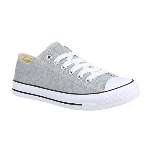 Elara Unisex Sneaker | Bequeme Sportschuhe für Damen und Herren | Low top Turnschuh Textil Schuhe CHF Lt.Grey-46 (Allstar Sneakers In Braun)