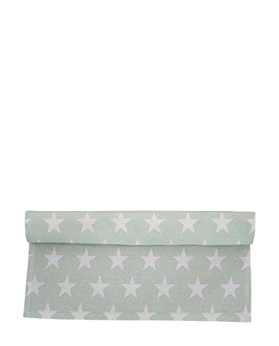 (Krasilnikoff - Tischläufer Sterne - Stars Mint grün - 50 cm x 160 cm)