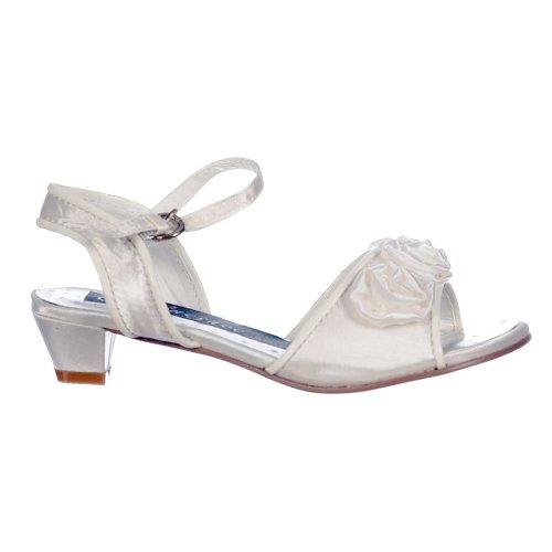 Onlineshoe Girls Infant Wedding Bridesmaid Confirmation Ivory Satin Flower Shoes Sandals Ivory JUNIOR UK11 - EU29