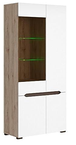 ELPASSO Modern Display Cabinet Sideboard Cupboard Oak Body White Fronts 4-door ,Glass Height: 200 cm