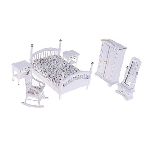 Baoblaze 1/12 Puppenhaus Miniatur Schlafzimmer Möbel Set, Inklusive Miniatur Bett, Kleiderschrank, Schminkspiegel, Nachttisch und Stuhl ( 6er/Set ) - B - Miniaturen Möbel Puppenhaus